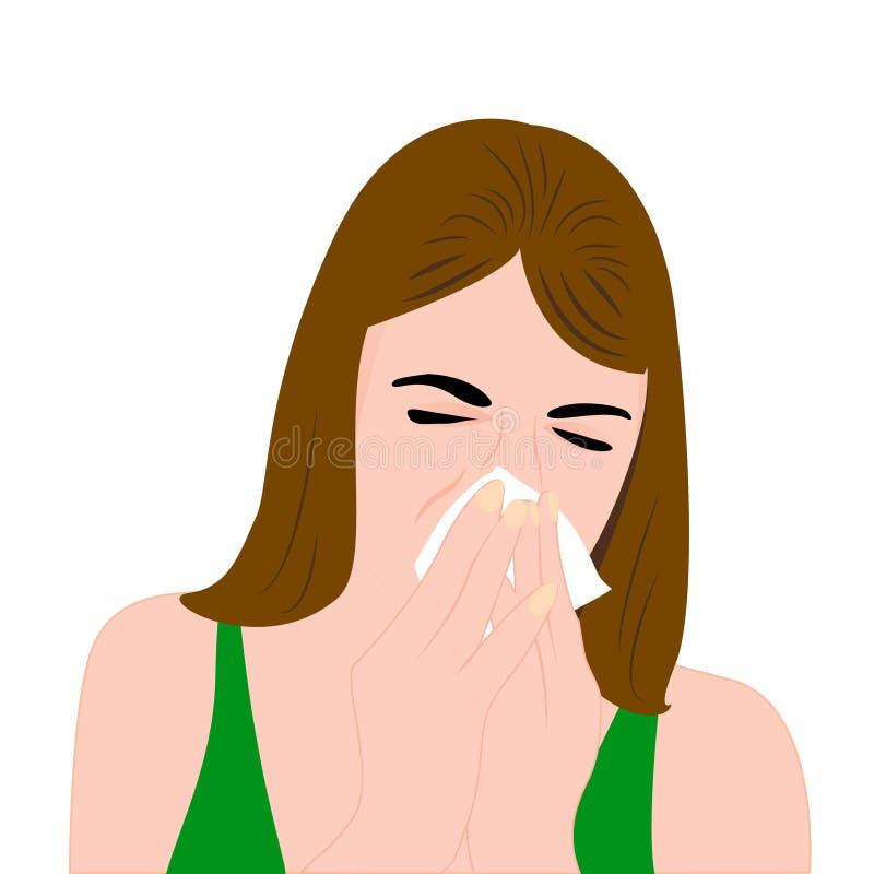 Una muchacha que tiene un frío y que estornuda libre illustration