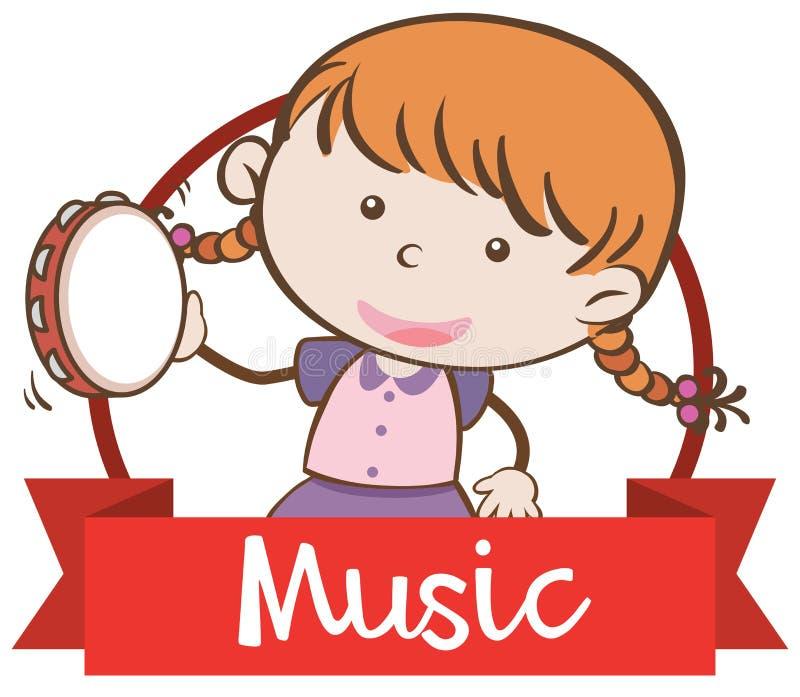 Una muchacha que toca el instrumento de música stock de ilustración