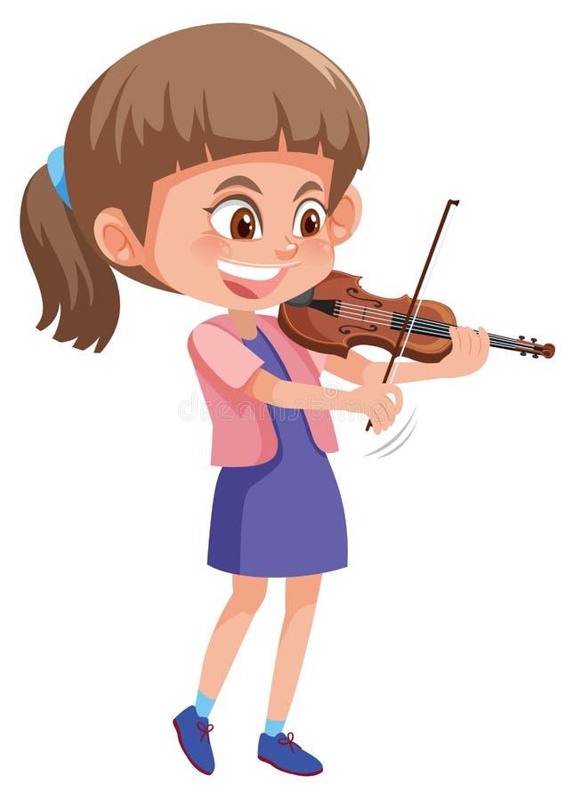 Una muchacha que toca el violín ilustración del vector