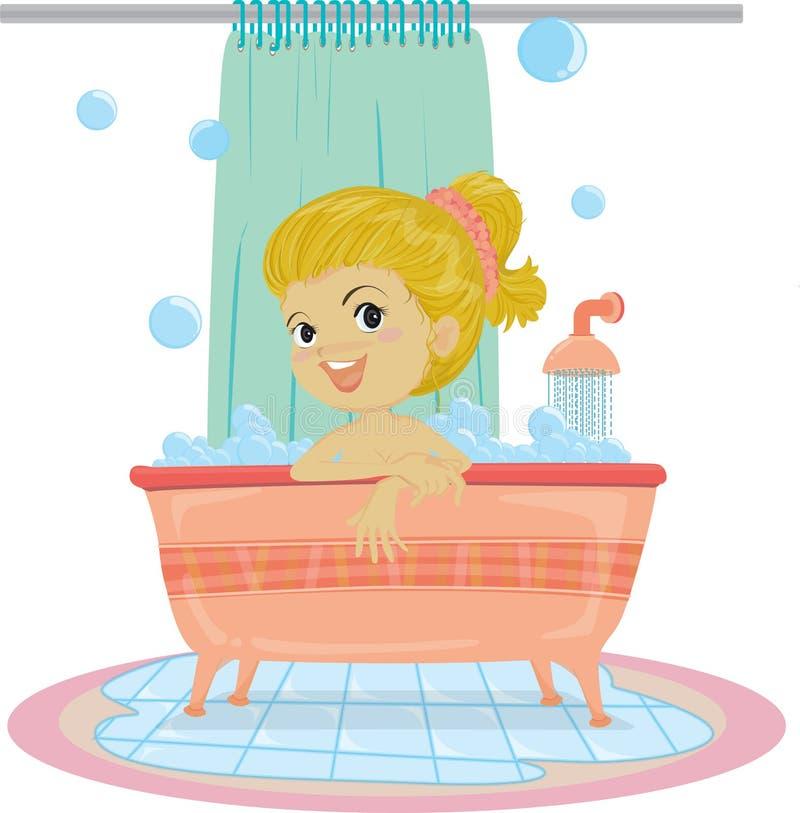 Una muchacha que toma el baño libre illustration