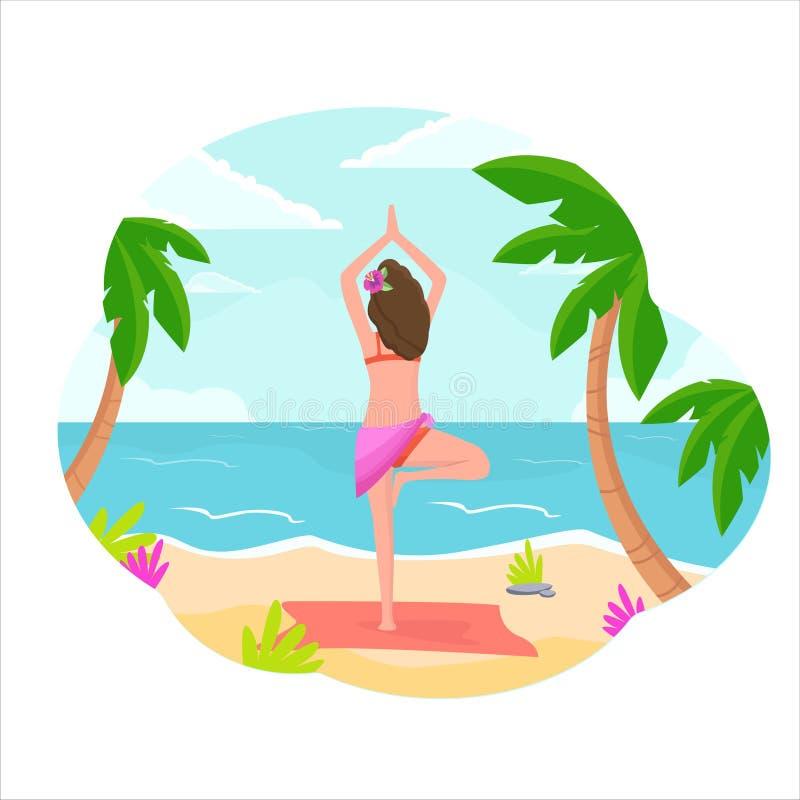 Una muchacha se coloca en la playa en una actitud de la yoga stock de ilustración