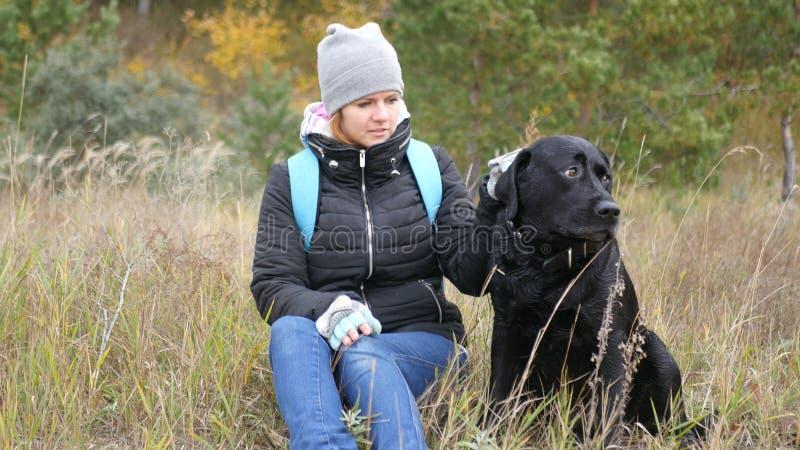 Una muchacha se sienta en una hierba amarilla y sostiene su perro al lado del cuello foto foto de archivo