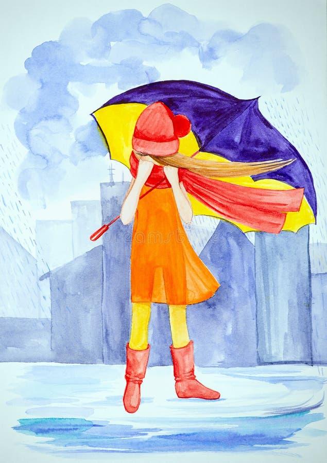 Una muchacha sola joven con los soportes de un paraguas grandes p?rpuras bajo la lluvia en la ciudad entre los edificios Vestido  ilustración del vector
