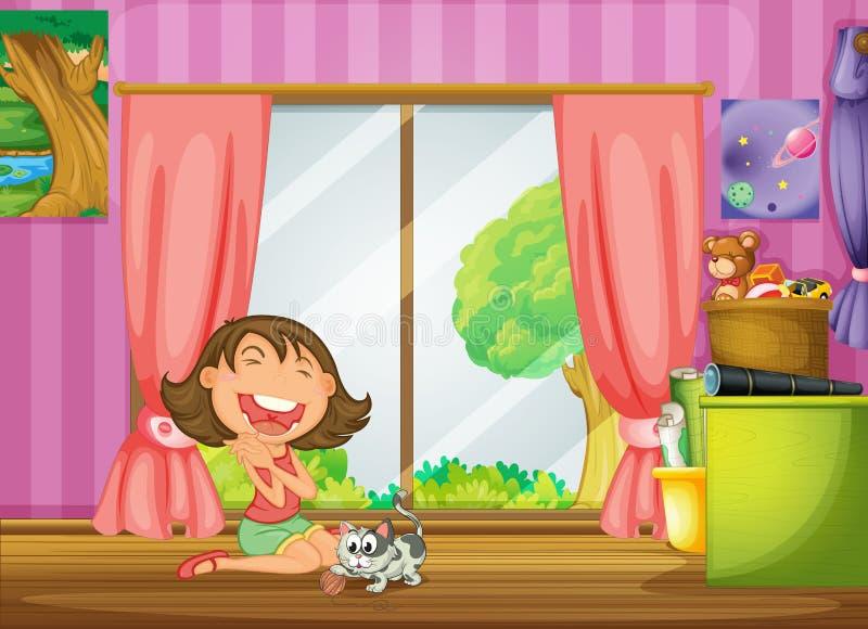 Una muchacha y su gato stock de ilustración