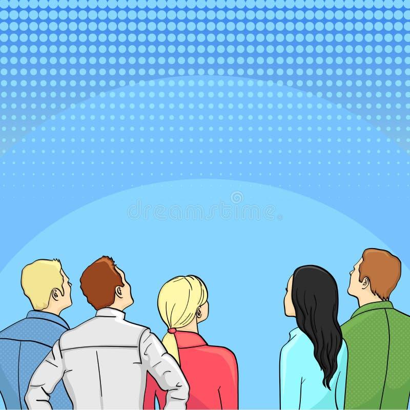 Una muchedumbre de espectadores retrocede arte pop retro del estilo libre illustration