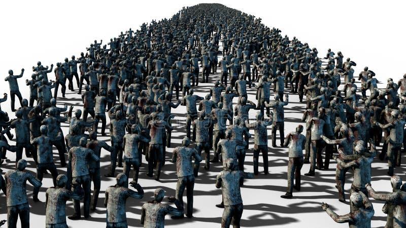 Una muchedumbre grande de zombis Apocalipsis, concepto de Halloween Aislante en blanco representación 3d ilustración del vector