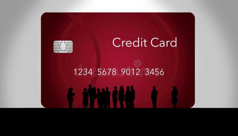 Una muchedumbre silueteada de grupo de la gente alrededor de una tarjeta enorme del debe/de crédito como si admirar el nuevo ofre stock de ilustración