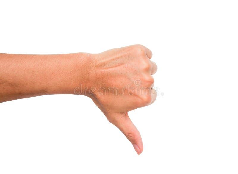 Una muestra de la mano del malo del significado del punto del pulgar, de la aversión, del etc hacia abajo foto de archivo libre de regalías