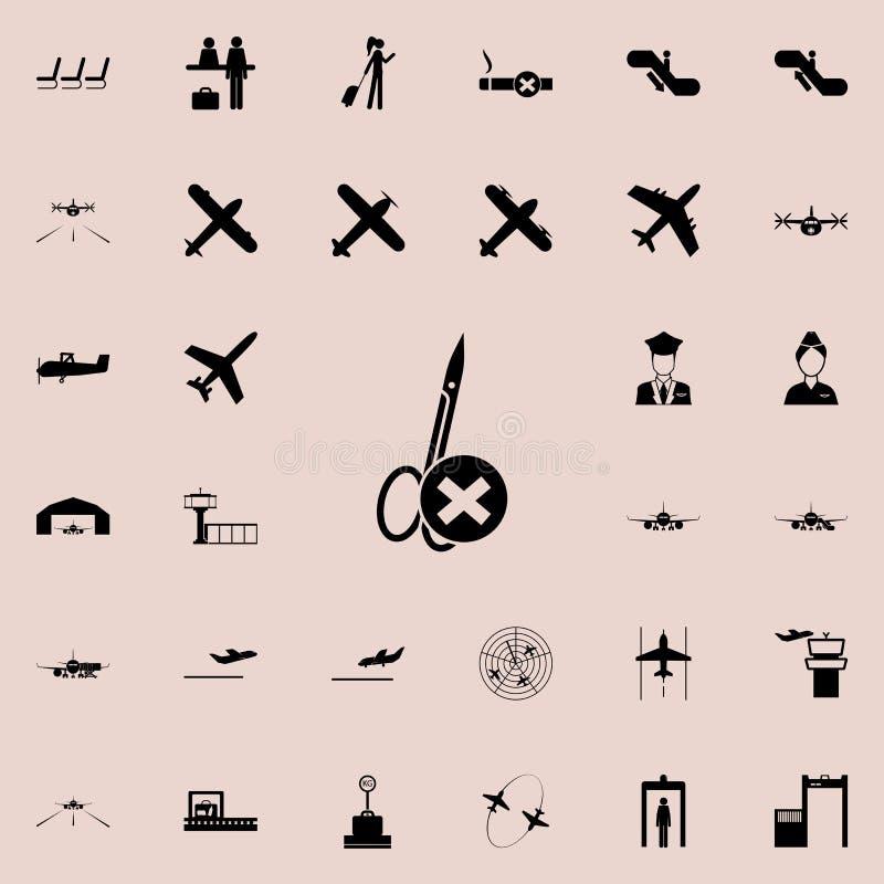 una muestra de la prohibición pero el paso del icono agudo y de puñalada de las cosas Sistema universal de los iconos del aeropue libre illustration