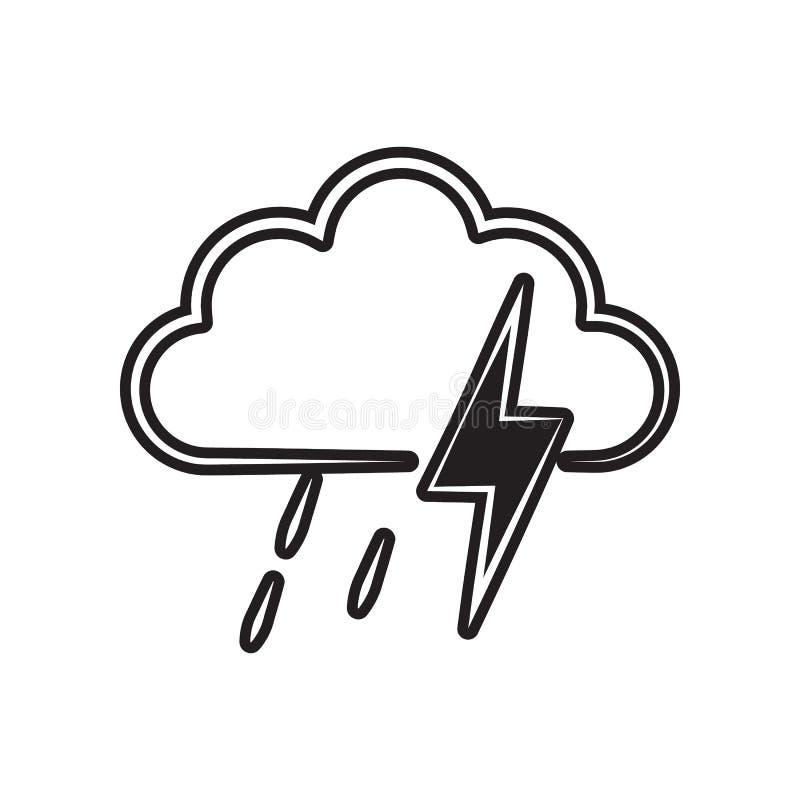 una muestra de las fuertes lluvias con un icono de la tempestad de truenos Elemento del tiempo para el concepto y el icono m?vile stock de ilustración