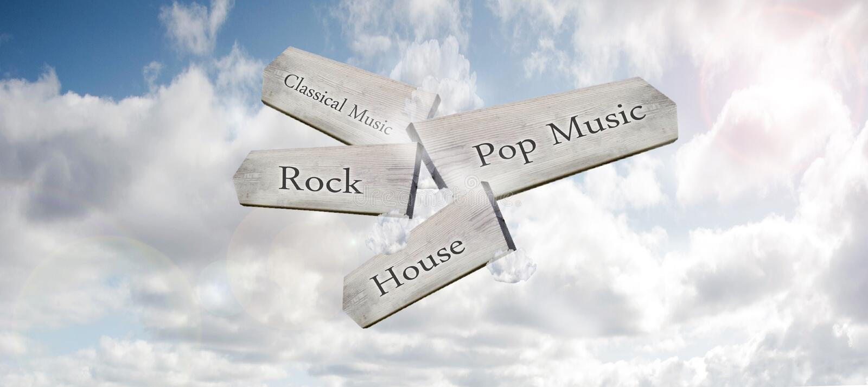 Una muestra de madera del manera-marcador que señala a diversos géneros de la música en un cielo azul imagen de archivo libre de regalías