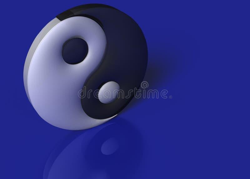 Una muestra de yang del yin en un fondo azul imágenes de archivo libres de regalías