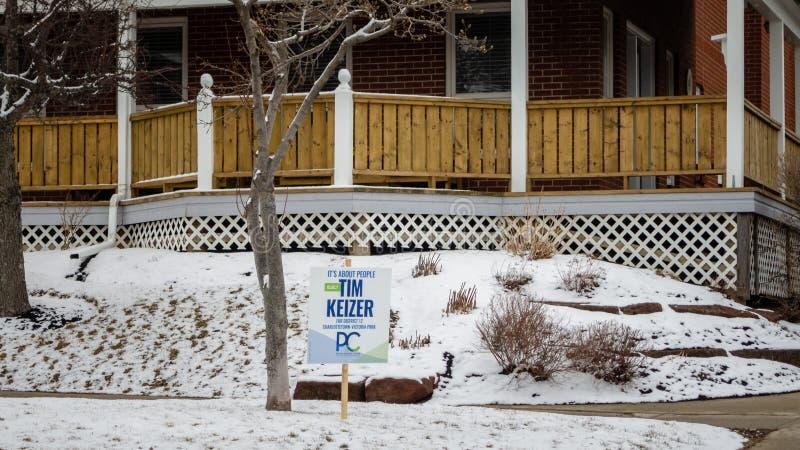 Una muestra en la calle de Tim Keizer de PEI Progressive Conservative Party para la elección provincial 2019 imagen de archivo