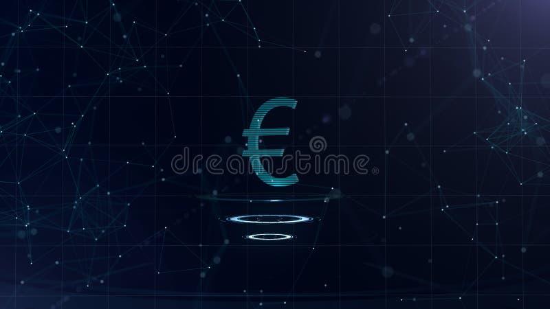 Una muestra euro magnífica 3d Contexto azul del ciberespacio del espacio con las conexiones a internet La moneda euro está en tre libre illustration