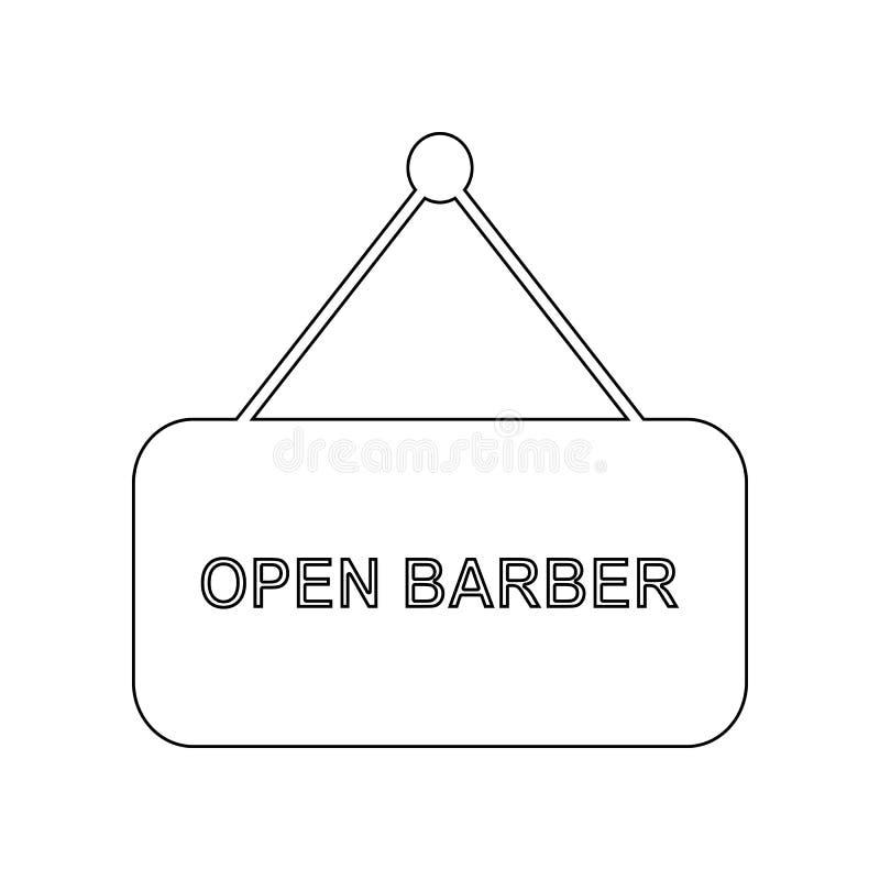 una muestra sobre la abertura de un peluquero \ del ?icono de s Elemento del peluquero para el concepto y el icono m?viles de los libre illustration