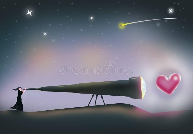 Una mujer busca para el amor Visión de un corazón a través de un telescopio ilustración del vector