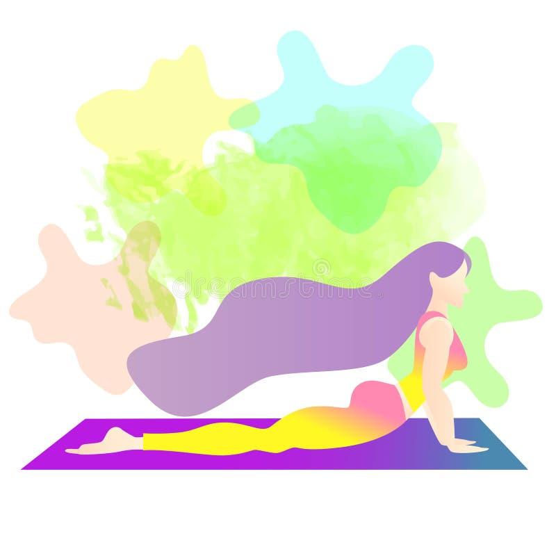 Una mujer comenz? en yoga con una actitud de la cobra Bhujangasana Dise?o de car?cter plano del ejemplo colorido del vector Color ilustración del vector