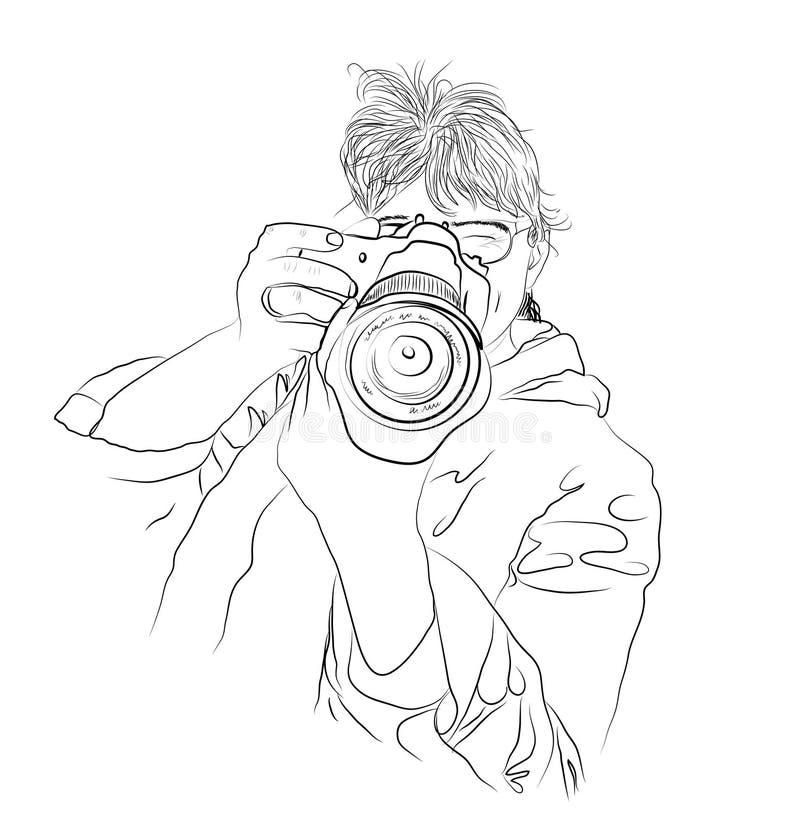 Una mujer con una cámara, toma una imagen, un bosquejo, fotógrafo, millennials libre illustration