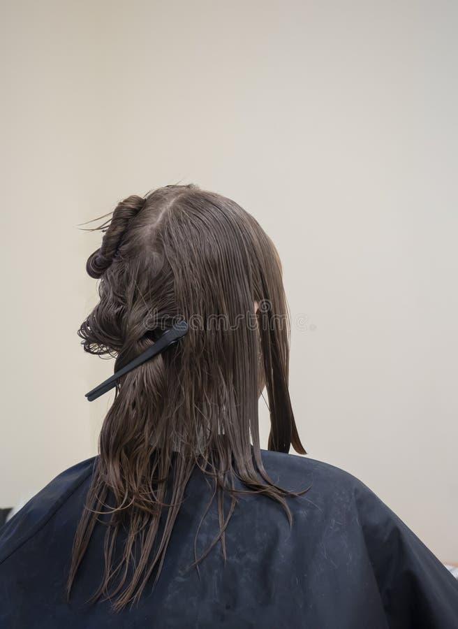 Una mujer con el pelo mojado antes de un corte de pelo en un salón de belleza imágenes de archivo libres de regalías