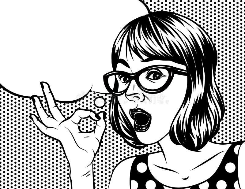 Una mujer con los vidrios celebra una mano y mostrar la muestra aceptable libre illustration