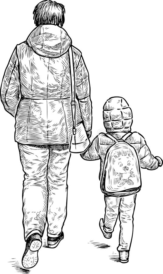 Una mujer con su niño que va abajo de la calle libre illustration