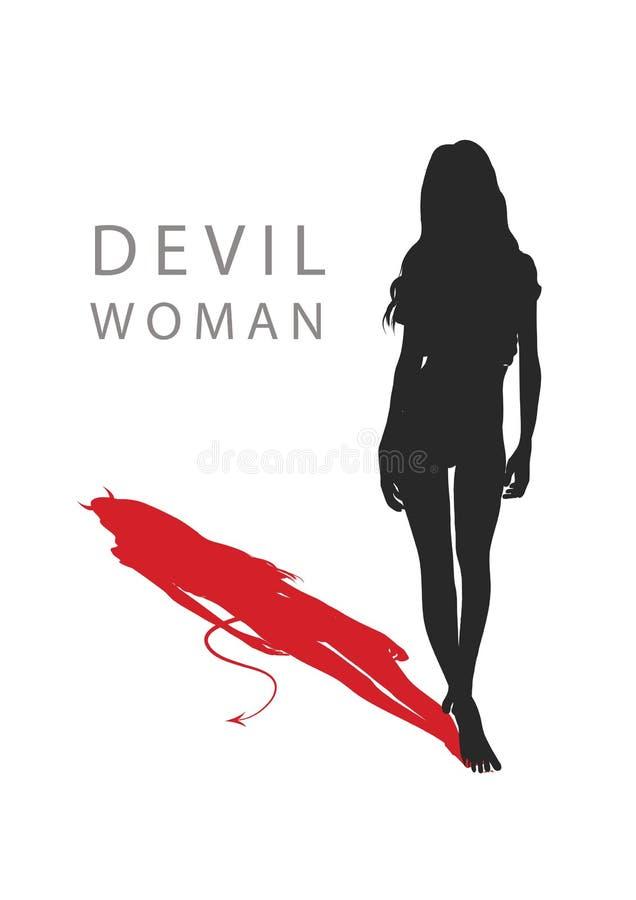 Una mujer con una cola del ` s del diablo Ilustración del vector libre illustration