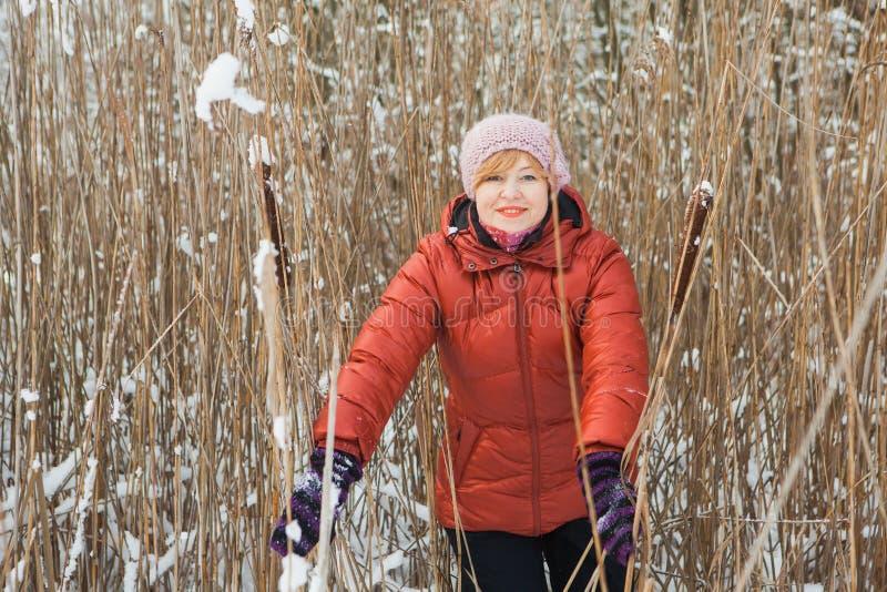 Una mujer de mediana edad en hierba seca, en día de invierno soleado imagen de archivo