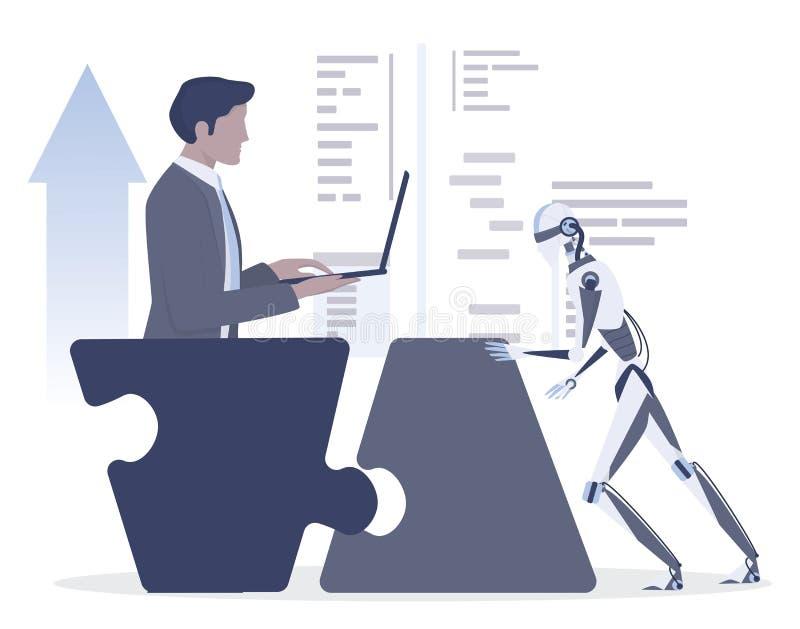 Una mujer de negocios y una idea de comunicación robot Robot de control humano ilustración del vector
