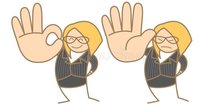Una mujer dice OK la parada libre illustration
