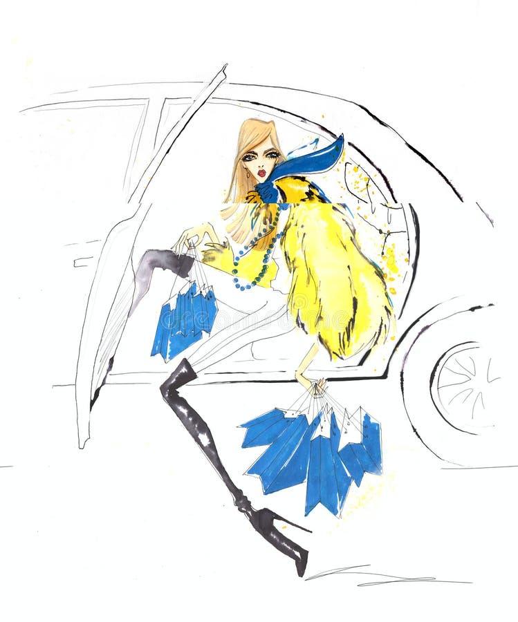 Una mujer en un abrigo de pieles con compras deja el coche stock de ilustración