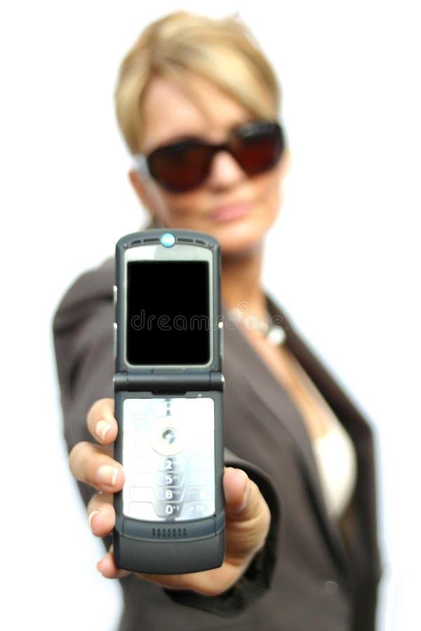 Download Una Mujer Hermosa Con El Teléfono Imagen de archivo - Imagen de manos, relaje: 1296487
