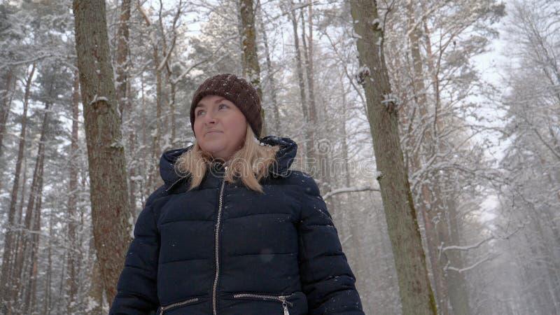 Una mujer hermosa de la muchacha camina a través del bosque, mira alrededor imagen de archivo libre de regalías