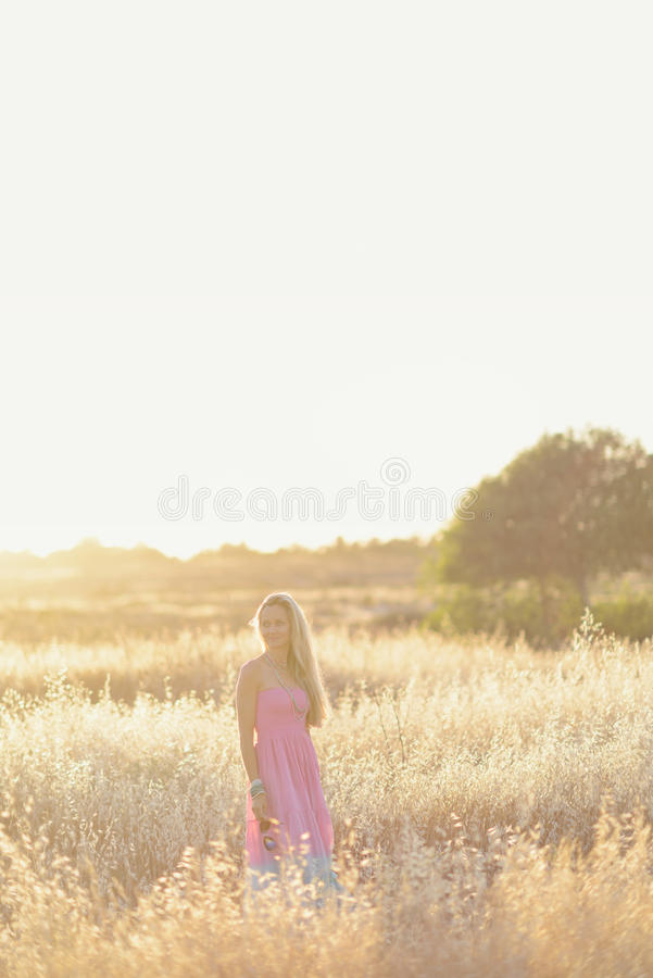 Una mujer hermosa en el campo de oro 5 del heno fotos de archivo