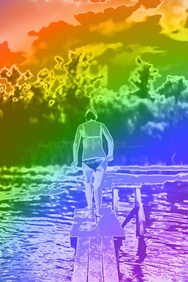 Una mujer hermosa que salta en el agua de un embarcadero stock de ilustración