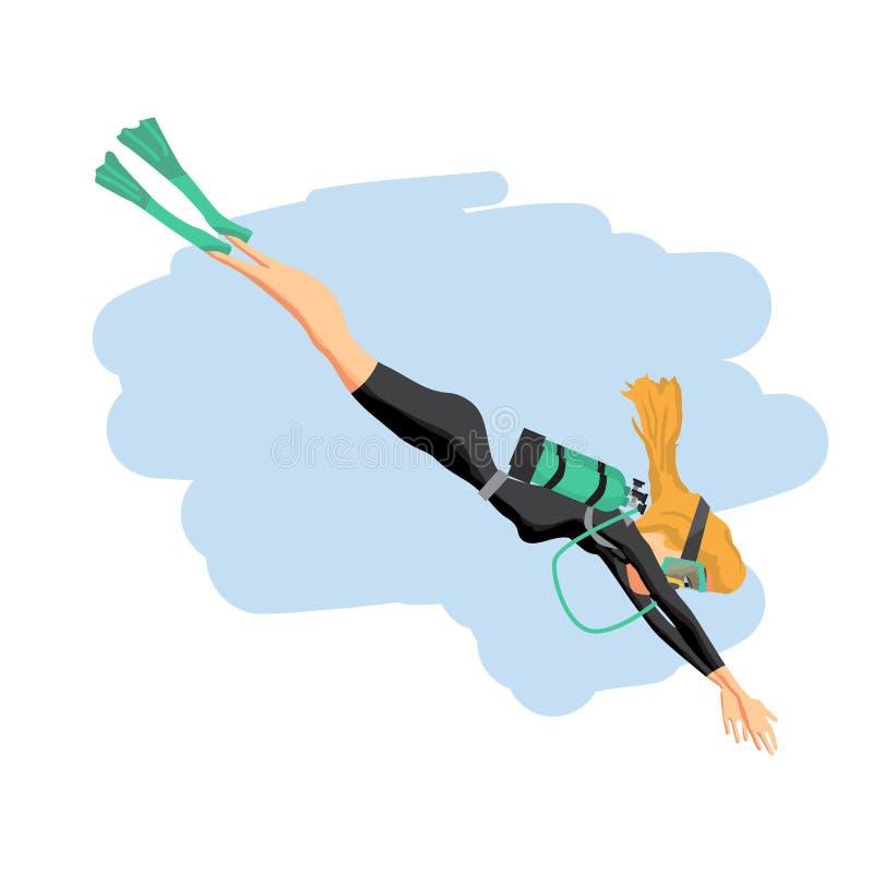 Una mujer joven en el traje de salto que bucea Enfermedad plana de la historieta del vector stock de ilustración