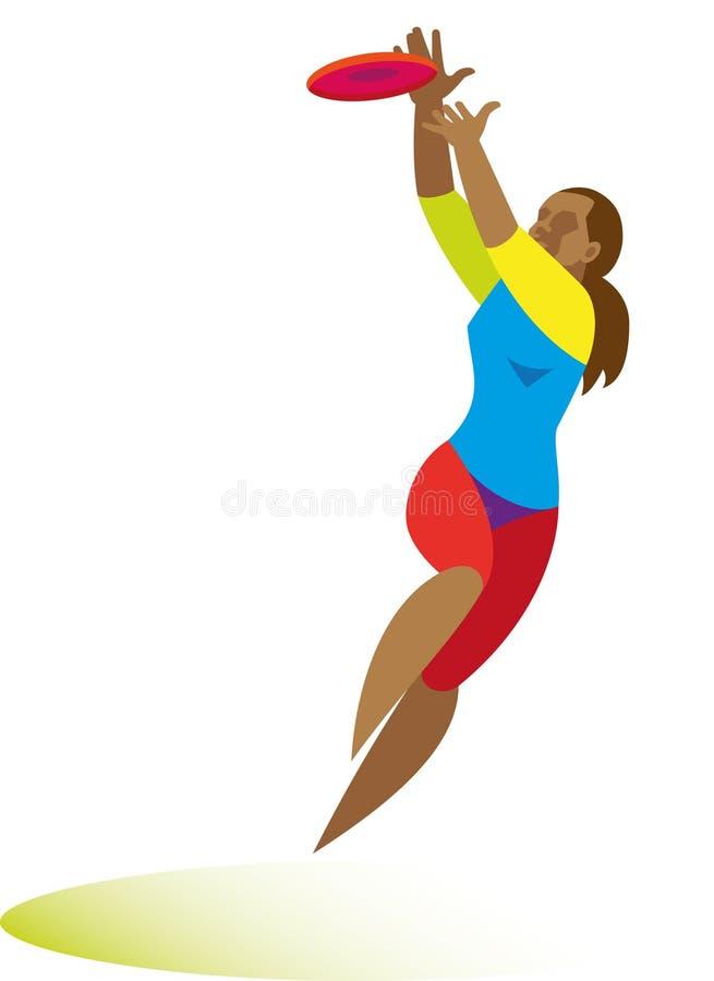 Una mujer joven en salto coge un disco del vuelo en el juego último stock de ilustración