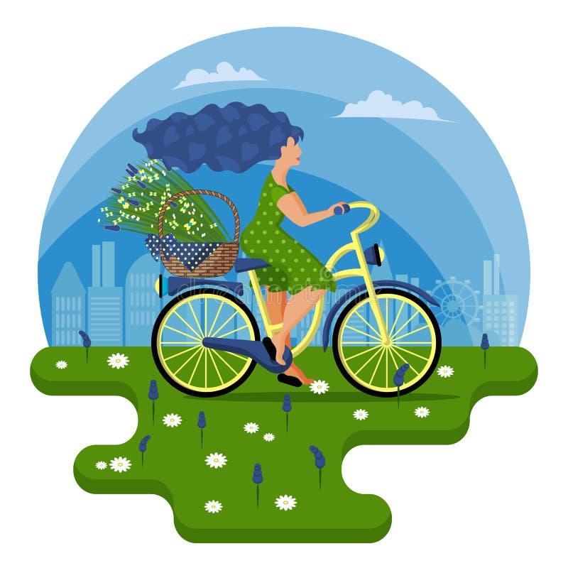 Una mujer joven en un vestido verde monta una bicicleta con una cesta de flores salvajes a través del campo ilustración del vector