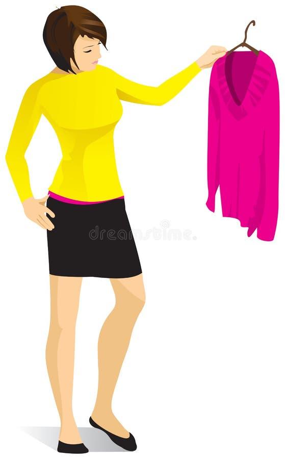 Una mujer joven está sosteniendo una suspensión con un suéter rosado Vector ilustración del vector