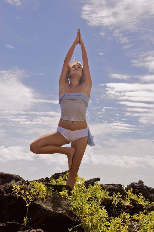 Una mujer joven que hace yoga en Hawaii. fotos de archivo