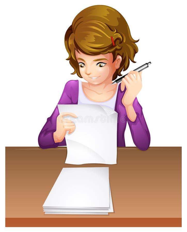 Una mujer joven que toma un examen ilustración del vector