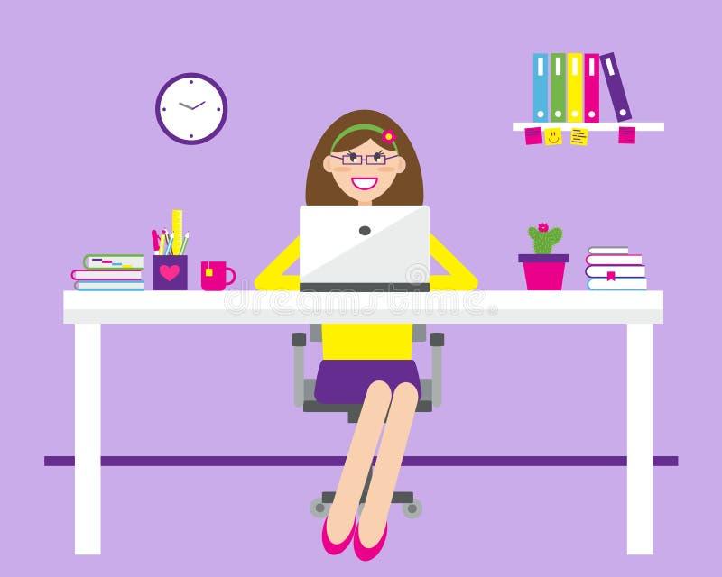 Una mujer joven se est? sentando en una tabla y est? mecanografiando en un ordenador port?til stock de ilustración
