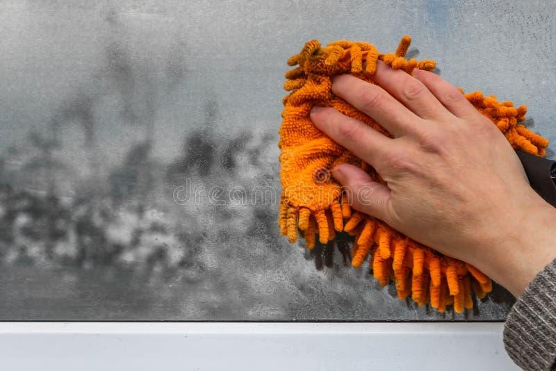 Una mujer lava una ventana con la esponja anaranjada fotografía de archivo