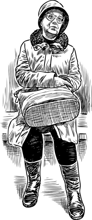 Una mujer mayor se sienta en un banco de parque libre illustration