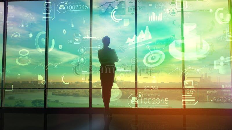 Una mujer mira cartas y datos de los procesos de negocio ilustración del vector