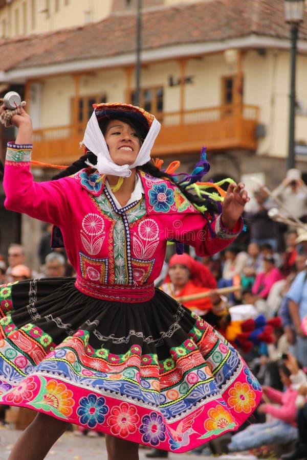 Una mujer peruana en un festival foto de archivo libre de regalías