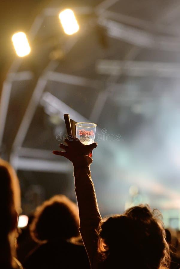 Una mujer por completo de la alegría con un vidrio de cerveza en su mano en un concierto en el sonido 2017 de Primavera fotografía de archivo