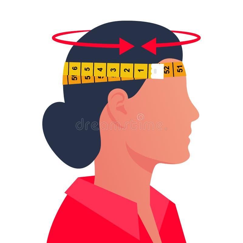Una mujer que mide su cabeza con un centímetro ilustración del vector
