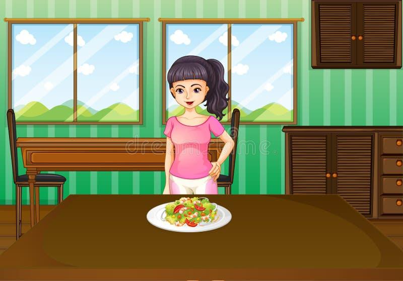 Una mujer que se coloca delante de una tabla con la comida stock de ilustración