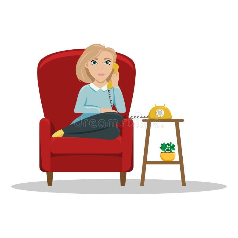 Una mujer que se sienta en una silla en casa que habla en el tel?fono Conversaciones acogedoras con un amigo Ejemplo plano del ve stock de ilustración
