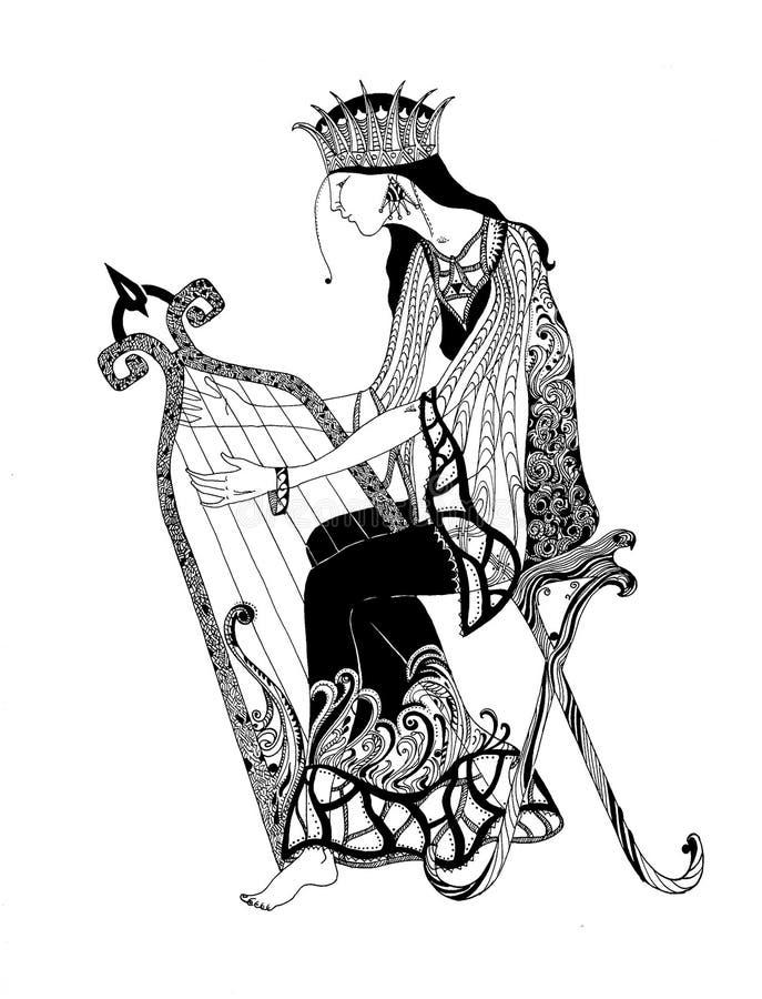 Una mujer que toca la arpa ilustración del vector